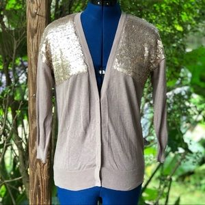 Loft | Brown Gold sequined Cardigan Sweater
